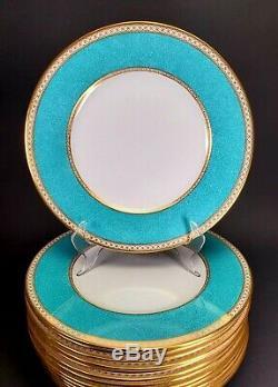 Wedgwood ULANDER POWDER TURQUOISE Dinner Plate Set of 8 Green Backstamp