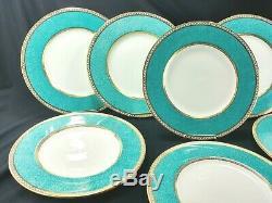 Wedgwood Ulander Powder Turquoise Dinner Plates 11 W1503 1950's EXC (Set of 8)