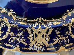 William Guerin Limoges Cobalt Blue Gold Encrusted Cabinet Dinner Plates Set of 4