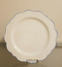 Williams Sonoma AERIN Scalloped Dinner Charger Plates Set of 4 Blue Rim NEW