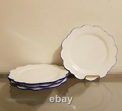 Williams Sonoma AERIN Scalloped Dinner Plates Blue Rim Set for 4