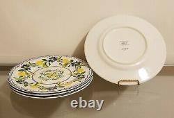 Williams Sonoma AERIN Seville Dinner Plates Lemon Set of 4 NEW