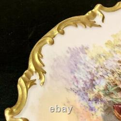 Wm Guerin & Co Limoges France Painted Courtship Gold Dinner Plate 11.5