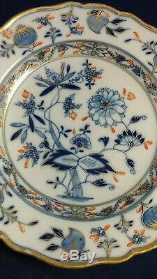 Wonderful Meissen'Rich Blue Onion' Dinner Plate 9-in -Blue, Orange, Gold