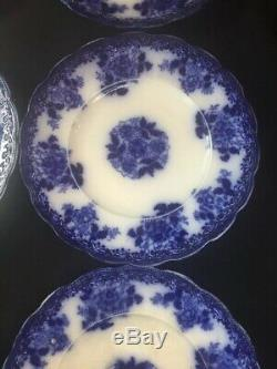 Wood and Son Pottery Flow Blue Waldorf 6 Dinner Plates 9