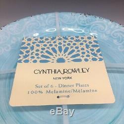 X6 Cynthia Rowley Aqua Blue MELAMINE Dinner Plate Set Rustic Medallion Print NEW