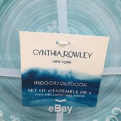 X6 Cynthia Rowley MELAMINE Dinner Plate Set Teal Blue Medallion Rustic Tuscany