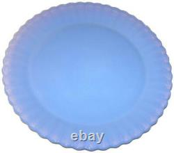 Yalos Casa Murano Art Glass Blue Opalescent Ruffled Edge Dinner Plate Set of Two